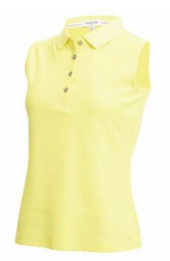 Calvin Klein Sleeveless Performance Cotton Pique Polo - Limelight