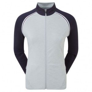 FootJoy French Terry Full Zip Colour Block - Grey/Navy/White