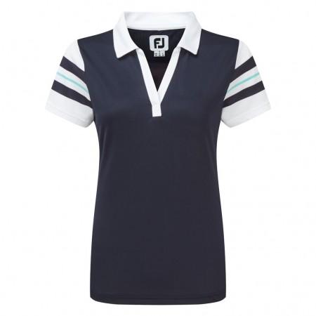 FootJoy Pique Polo met strepen op de mouw - blauw/wit/aqua