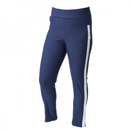 Ladies High-Waisted 7/8 Trousers with a stripe - Navy