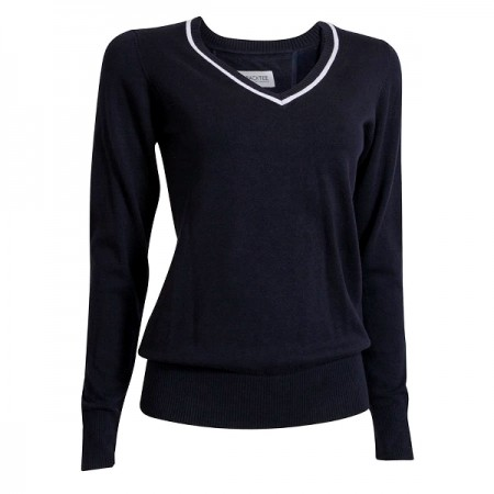 Backtee Ladies Solid Stretch Pullover - Navy