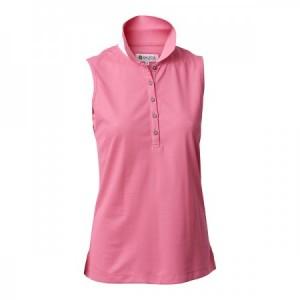 Backtee Ladies Quick Dry Sleeveless Performance Polo - Pink Lemonade