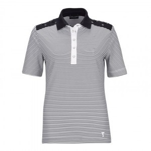 Golfino Nautical stripes polo (korte mouw) - wit/navy