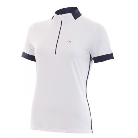 Calvin Klein Vive Golfpolo - wit met blauwe accenten