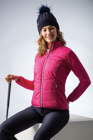 Glenmuir Front Pinstripe Quilted Performance Jacket - Magenta