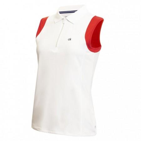 Calvin Klein Alamere Sleeveless Polo - White/Scarlet